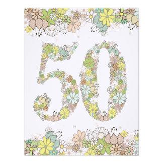 50th Birthday Natural Blooms Ladies Photo Invite