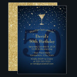 "50th Birthday Navy Blue Modern Gold Cocktail Party Invitation<br><div class=""desc"">Navy Blue Modern Gold 50th Birthday Cocktail Party Invitations.</div>"