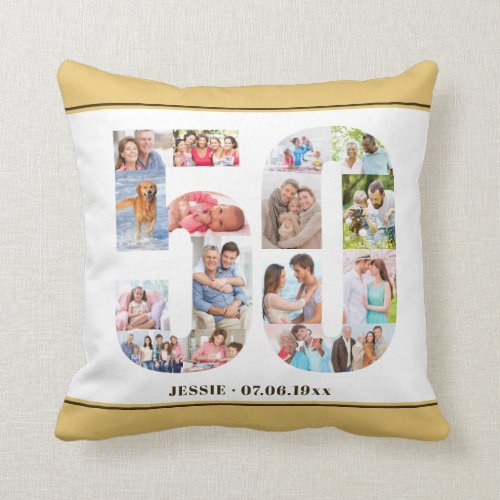 50th Birthday Number 50 Photo Collage Neutral Throw Pillow