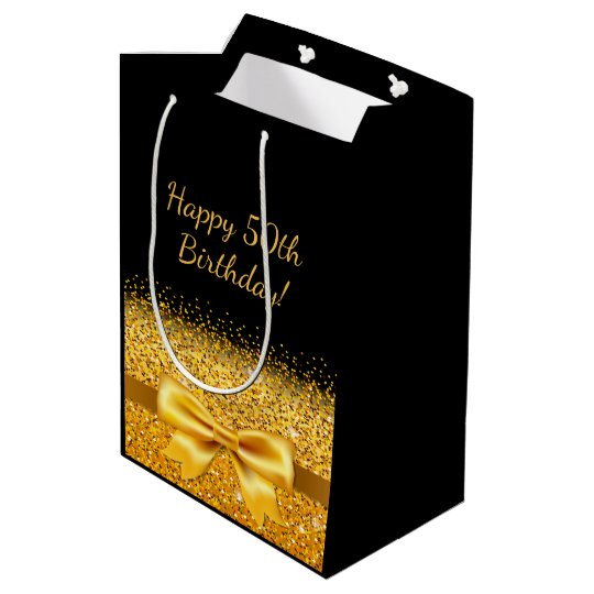50th Birthday On Black With Gold Bow Sparkle Medium Gift Bag
