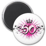 50th birthday or anniversary 2 inch round magnet
