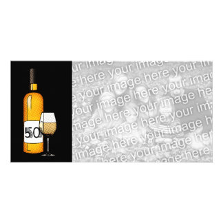 50th birthday or anniversary : wine bottle & glass card