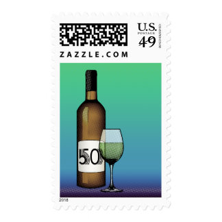 50th birthday or anniversary : wine bottle & glass postage stamp