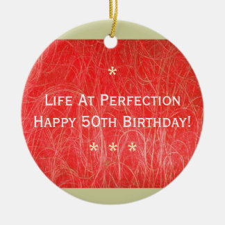 50th Birthday Ornament (Red Abstract)