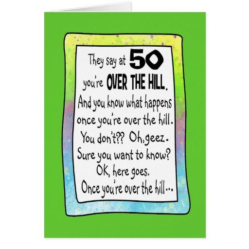 Happy Over The Hill Birthday Birthday Humor Dog Card: 50TH BIRTHDAY OVER THE HILL? CARD