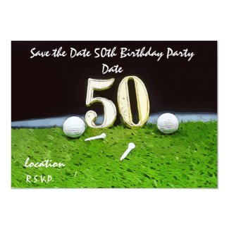 50th Birthday Par tee Party for golfer invitation
