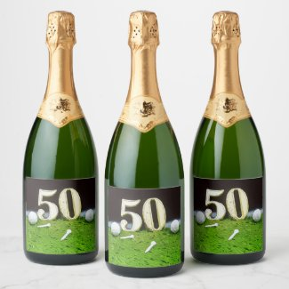 50th Birthday Par tee Party for golfer invitation Champagne Label