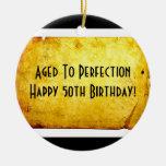 50th Birthday Parchment Ornament (Black)