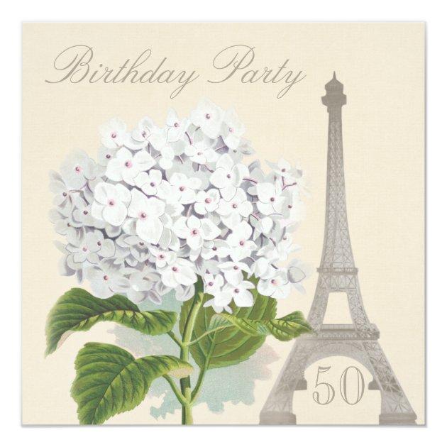 50th Birthday Paris Vintage White Hydrangea Flower Invitation