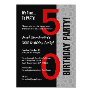 50th Birthday Part Modern Red Silver Black W1792 5x7 Paper Invitation Card