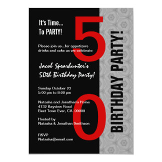 50th Birthday Part Modern Red Silver Black W1792 Personalized Invitations