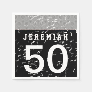 50th Birthday Part Modern Silver and Black A10 Napkin