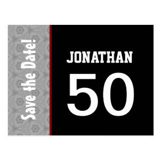 50th Birthday Part Modern Silver and Black A14 Postcard