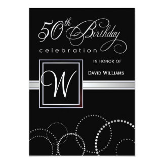 50th Birthday Party Adult - Silver Monogram 5x7 Paper Invitation Card