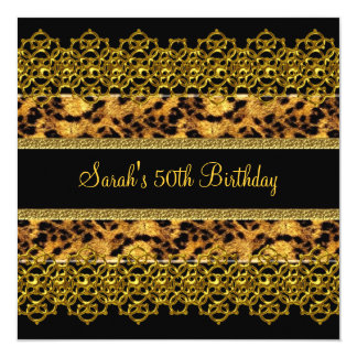 50th Birthday Party Animal Wild Black Gold Lace Card