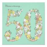 "50th Birthday Party Aqua Blooms Custom Invitation 5.25"" Square Invitation Card"