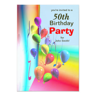 50th Birthday Party Balloon Wall Card