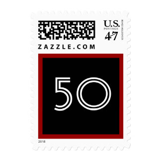 50th Birthday Party Big Bold Black White Red Postage Stamp