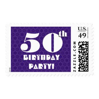 50th Birthday Party Big Bold Purple White W1224 Postage