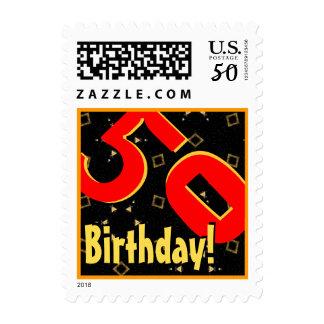 50th Birthday Party Big Bold Red Black Gold V050 Postage