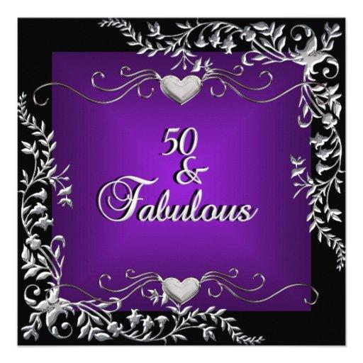 50th Birthday Party Black Bright Deep Purple Big Personalized Invitations