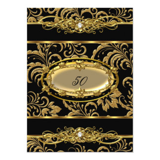 50th Birthday Party Black Gold Damask Floral Card
