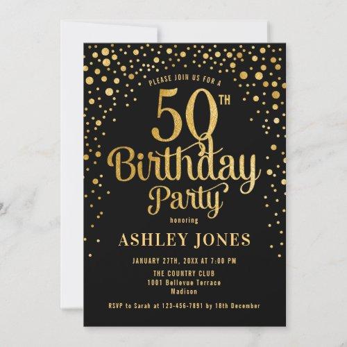 50th Birthday Party _ Black  Gold Invitation