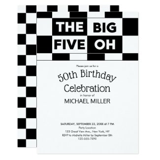 50th Birthday Party Black White Checkered Pattern Card