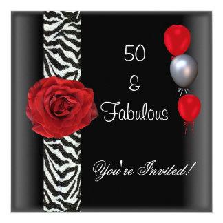 50th Birthday Party Black White Red Rose Zebra Invitation