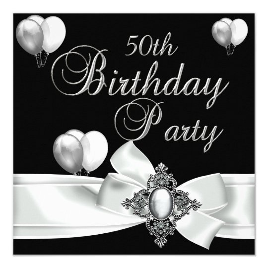 50th Birthday Party Black White Silver Balloons Invitation
