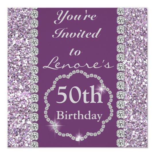 50th  Birthday Party BLING Invitation