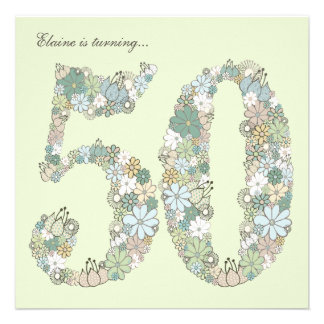 50th Birthday Party Blue Green Blooms Invitation
