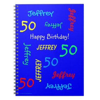 50th Birthday Party Blue Guest Book, Repeat Name Spiral Notebook