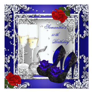 50th Birthday Party Blue Red Rose Silver Card