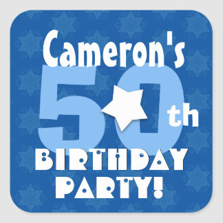 50th Birthday Party Blue Stars Custom Name B25Z Square Sticker