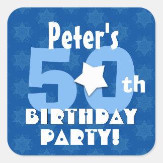 50th Birthday Party Blue Stars Custom Name V14 Square Sticker