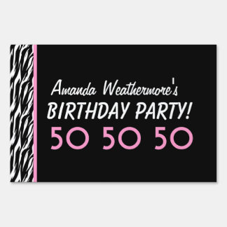 50th Birthday Party Celebration Zebra with Pink Sign
