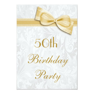 50th Birthday Party Damask and Faux Bow Card