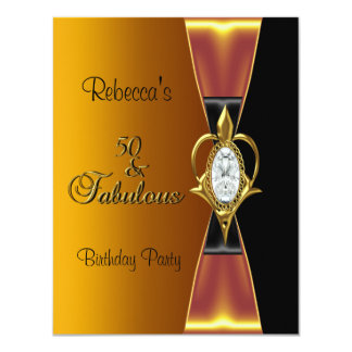 50th Birthday Party Diamond Jewel Gold Black Bow 4.25x5.5 Paper Invitation Card