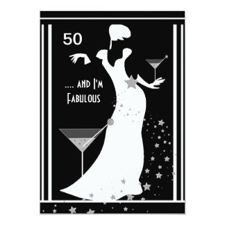 50th Birthday Party Diva Art deco Black White Card