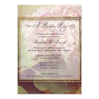 50th Birthday Party Elegant Floral Hydrangeas 5x7 Paper Invitation Card