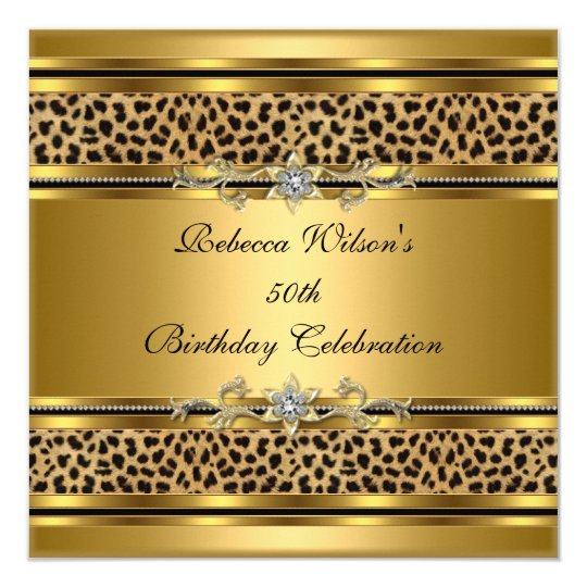 50th Birthday Party Elegant Gold Black Leopard 3 Card