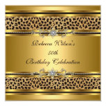 50th Birthday Party Elegant Gold Black Leopard 3 Personalized Invite