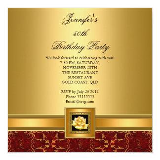 50th Birthday Party Elegant Red Gold Black Invites