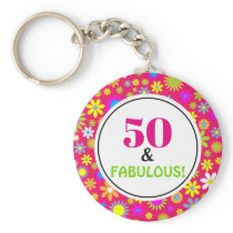 50th Birthday Party Fabulous Pink Vintage Floral Keychain