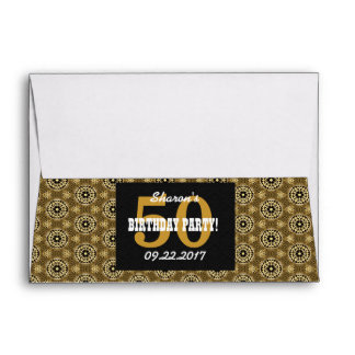 50th BIRTHDAY PARTY For Her Black and Gold H04BZ Envelope
