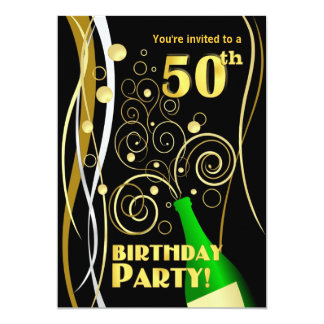 50th Birthday Party - Fun and Festive Champagne 5x7 Paper Invitation Card
