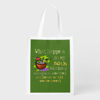 50th Birthday Party Gifts. What happens on my 50th Grocery Bag