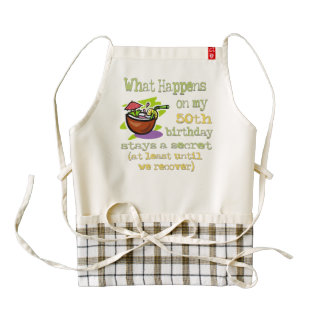 50th Birthday Party Gifts. What happens on my 50th Zazzle HEART Apron