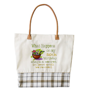 50th Birthday Party Gifts. What happens on my 50th Zazzle HEART Tote Bag